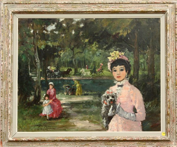 4472: Painting, Woman, Poodle, Park, French