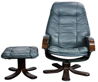 A Danish lounge chair with ottoman
