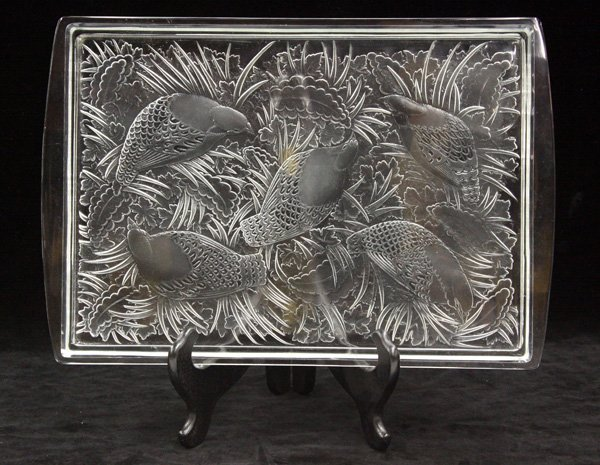 2020: Lalique crystal tray Plateau Perdrix