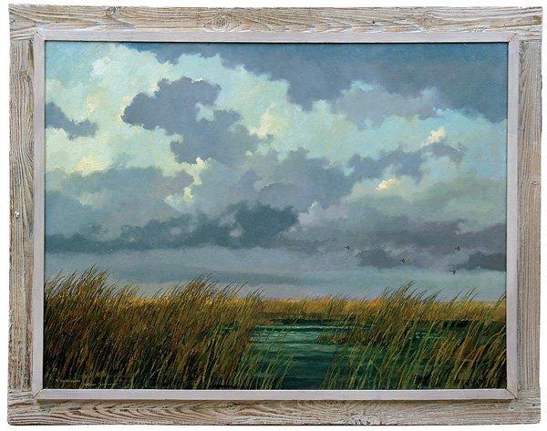 2393: painting, Eric Sloane, Ducks, Marshland