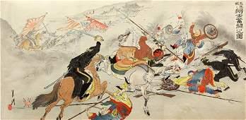 2510 Two SinoJapanese War Woodblock Triptychs