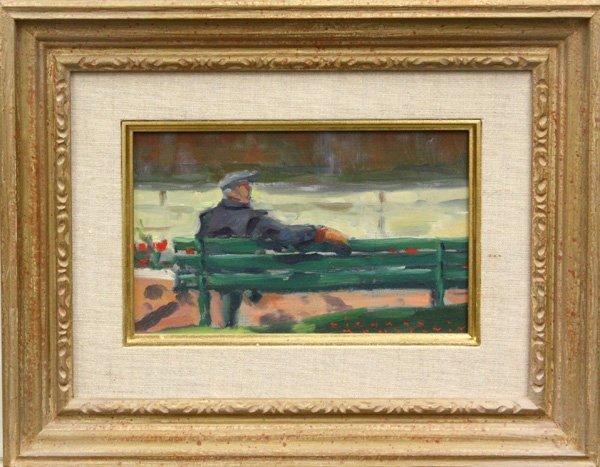7: Painting, Man on Bench, Richard Montpetit