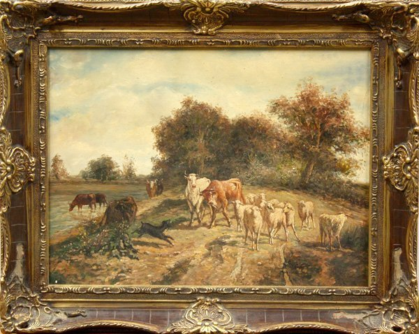 6005: Painting, British, 19th Century, Dog Herding Cows