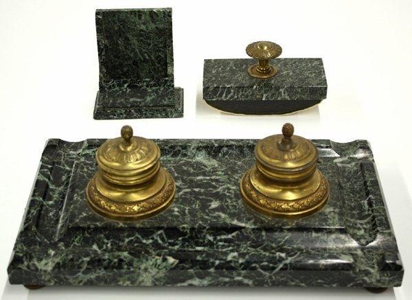 6009: Desk Set, French Empire marble bronze
