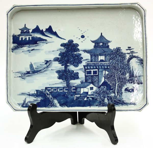 6020: Chinese Blue/White Export Style Tray