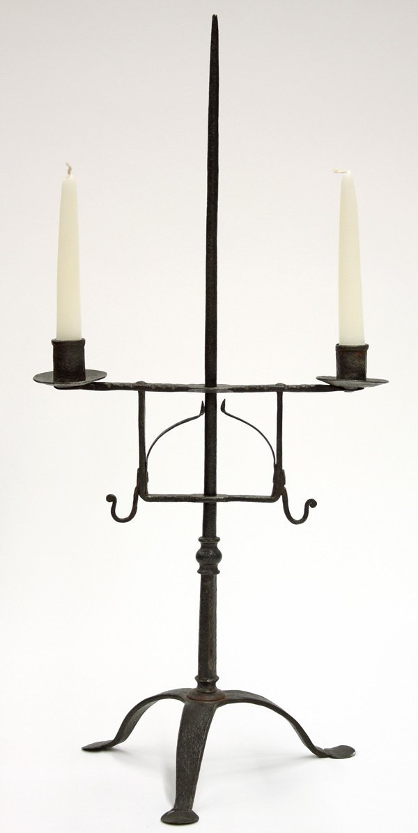6022: Wrought Iron table top light, American 18th c.