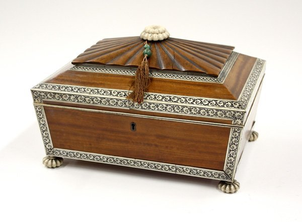 6023: Ivory inlaid sewing box, Anglo Indian