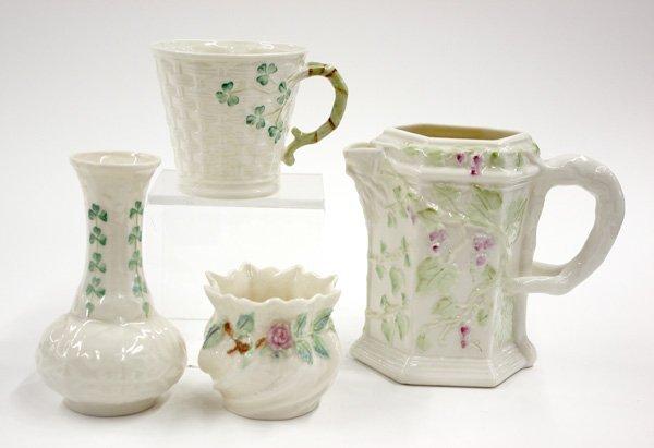 4019: Belleek porcelain  pitcher, vase
