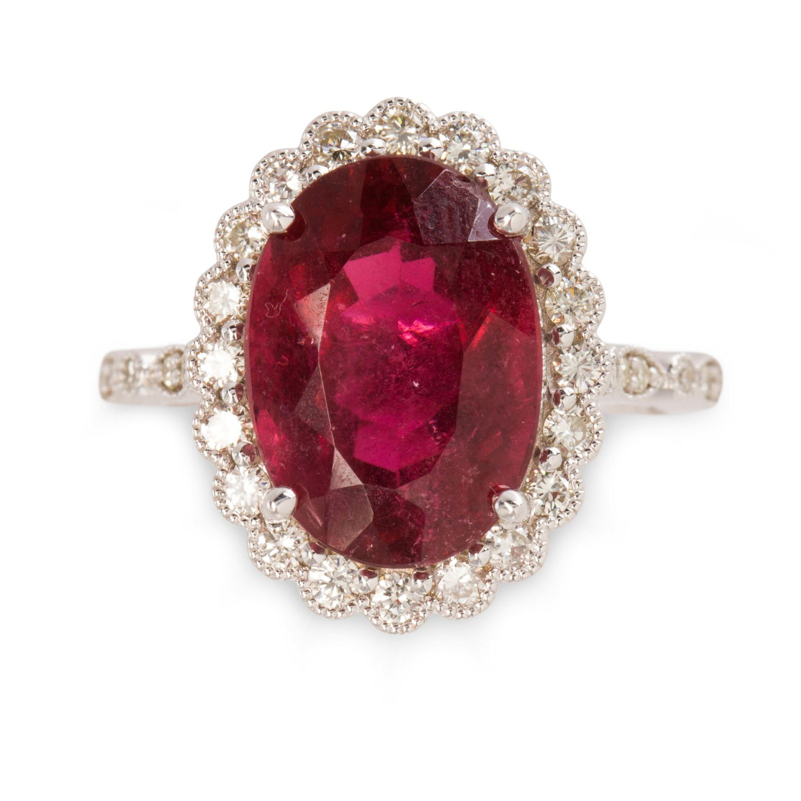 A pink tourmaline, diamond and eighteen karat white