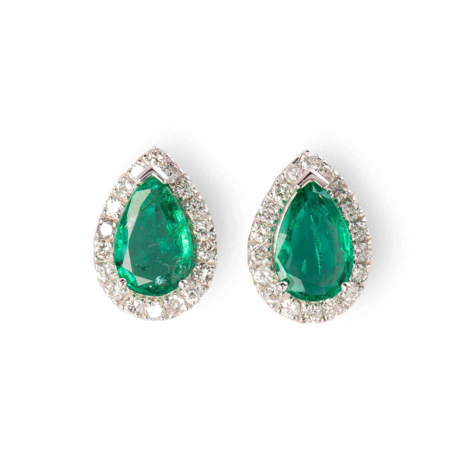 A pair of emerald, diamond and eighteen karat white