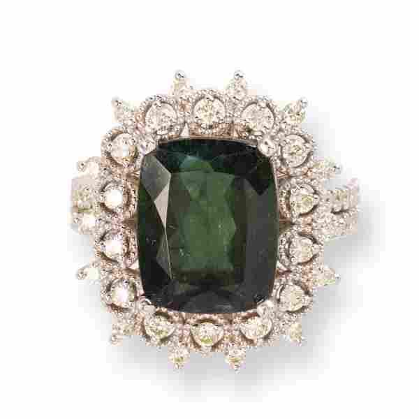 A green tourmaline, diamond and eighteen karat white