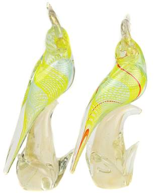 A pair of Murano glass cockatoos or parrots