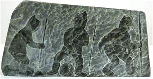 Inuit double sided relief stone carving