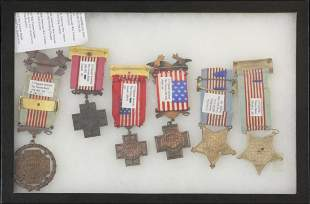 6 Civil and Spanish American war medals: