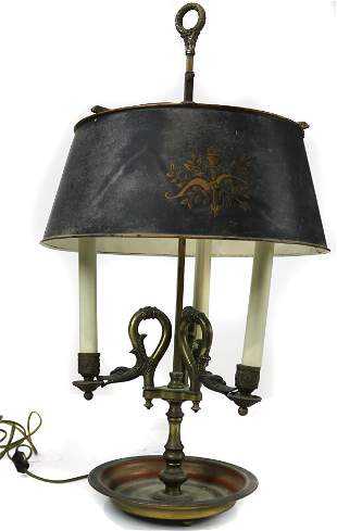 A French Empire style bouillotte lamp
