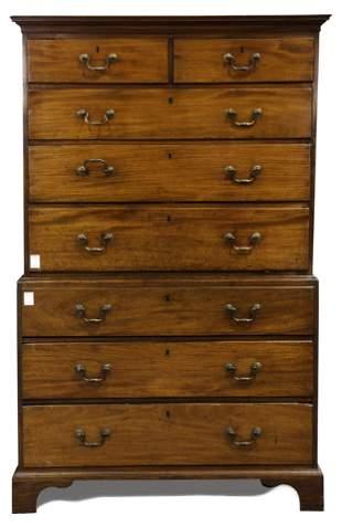 A Georgian mahogany chest on chest circa 1760