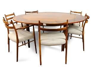 A Danish Modern Dyrlund rosewood dining set