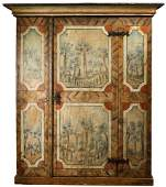 A Continental paint decorated armoire