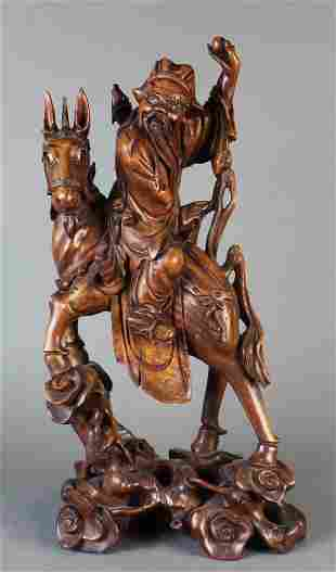 Chinese carved wood Daoist immortal