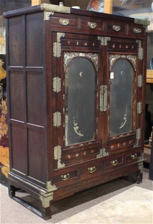 Korean hardwood cabinet with mother of pearl inlay