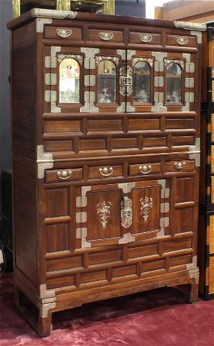 Korean two-piece wood cabinet with mother of pearl