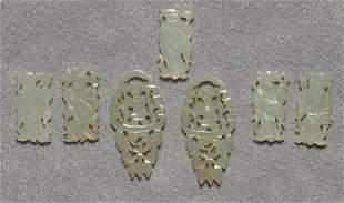 (lot of 7) Chinese small white jade figural decorations