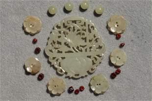 Chinese white jade floral basket pendant