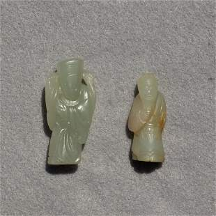 (lot of 2) Chinese small white jade figures