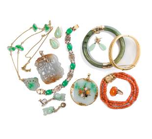 A group of jade or coral and gold jewelry