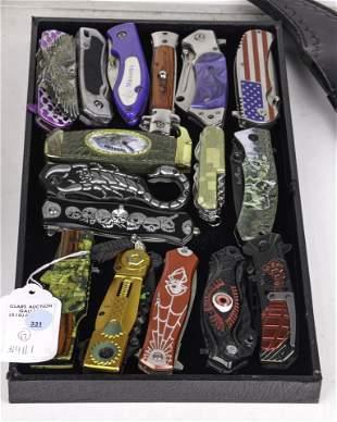 (lot of 17) Novelty Pocket Knives, most with pocket