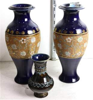 Pr Royal Doulton signed stoneware vases and a Lambreth