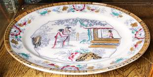 Large European lustre transfer decorated platter in a