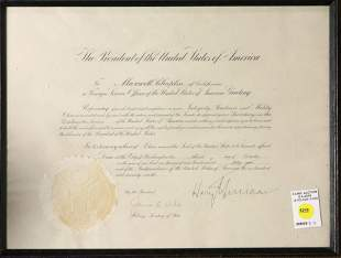 US Presidential Document presented to Maxwell Chaplin
