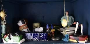 One shelf of decorative items