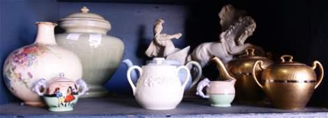 Four shelves of porcelain china tablewares
