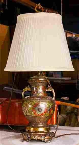 A Chinese cloisonne vase mounted as a lamp