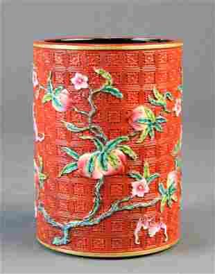 "Chinese porcelain ""Faux Cinnbar"" brush pot"