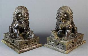 (Lot of 2) Pair of Chinese bronze fu lions