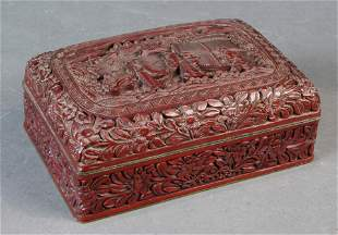 Chinese cinnabar lacquer box with landscape vignette,