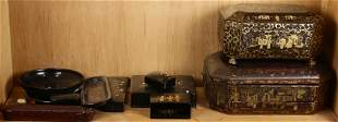Shelf of mostly Asian gilt lacquered boxes, incl 2