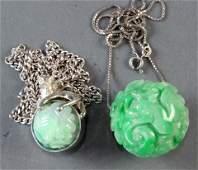 (lot of 2) Chinese green jadeite pendants