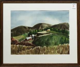 Watercolor, Country Farm Landscape