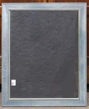 A Contemporary blue framed mirror