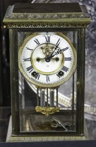 Ansonia gilt bronze cased anniversary clock with glazed