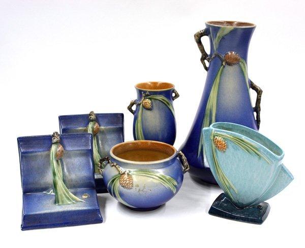 2014: Roseville Art Pottery vase, bowl
