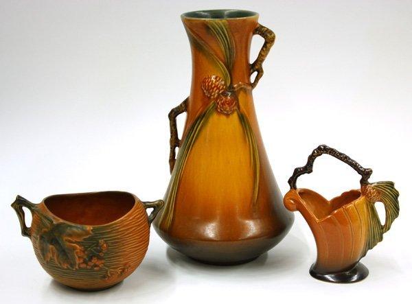 2015: Roseville Art Pottery vase, bowl