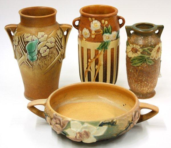 2018: Roseville Art Pottery bowl, vase