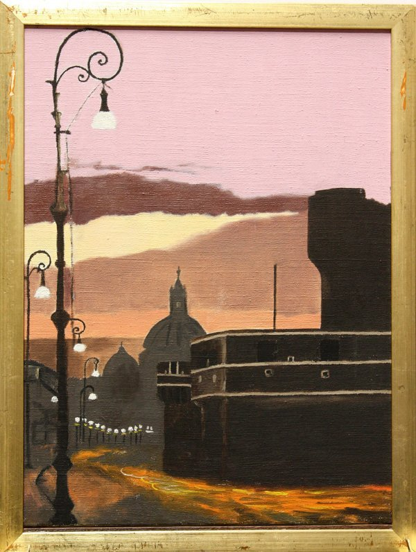 1: Painting, Streetlights at Sunset