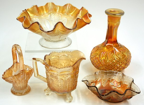 12: marigold, topaz luster and amber carnival glass