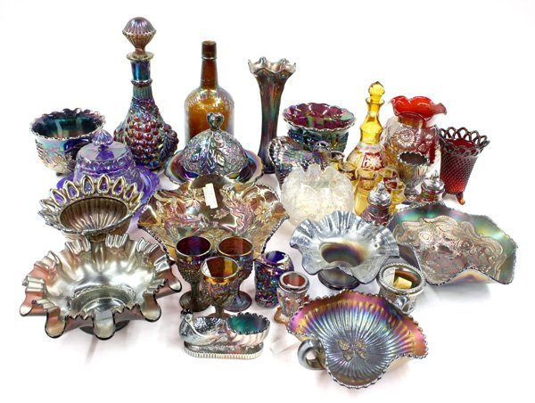17: amethyst amber white red carnival glass